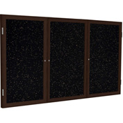 "Ghent® 3 Door Enclosed Recycled Rubber Bulletin Board, 96""W x48""H, Tan Speckled w/Walnut Frame"