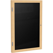 "Ghent® 1 Door Enclosed Flannel Letter Board w/Oak Frame, 18""W x 24""H, Black"