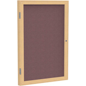 "Ghent® 1 Door Enclosed Fabric Bulletin Board, Merlot Fabric/Oak Frame, 18""W x 24""H"
