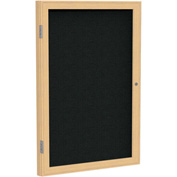 "Ghent® 1 Door Enclosed Fabric Bulletin Board, Black Fabric/Oak Frame, 18""W x 24""H"