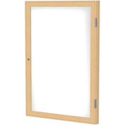 "Ghent® 1 Door Enclosed Porcelain Whiteboard, White w/Oak Frame, 18""W x 24""H"