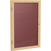 "Ghent® 1 Door Enclosed Flannel Letter Board w/Oak Frame, 24""W x 36""H, Burgundy"