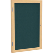 "Ghent® 1 Door Enclosed Fabric Bulletin Board, Blue Fabric/Oak Frame, 24""W x 36""H"