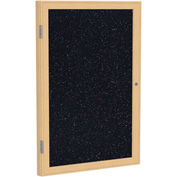 "Ghent® 1 Door Enclosed Recycled Rubber Bulletin Board, 24""W x36""H, Confetti w/Oak Frame"