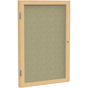 "Ghent® 1 Door Enclosed Fabric Bulletin Board, Beige Fabric/Oak Frame, 30""W x 36""H"