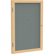 "Ghent® 1 Door Enclosed Fabric Bulletin Board, Gray Fabric/Oak Frame, 30""W x 36""H"