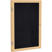 "Ghent® 1 Door Enclosed Recycled Rubber Bulletin Board, 30""W x36""H, Black w/Oak Frame"