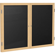 "Ghent® 2 Door Enclosed Flannel Letter Board w/Oak Frame, 48""W x 36""H, Black"