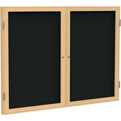 "Ghent® 2 Door Enclosed Fabric Bulletin Board, Black Fabric/Oak Frame, 60""W x 36""H"