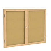 "Ghent® 2 Door Enclosed Bulletin Board, Oak Frame, 60""W x 36""H"