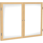 "Ghent® 2 Door Enclosed Porcelain Whiteboard, White w/Oak Frame, 60""W x 36""H"