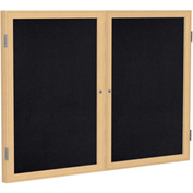 "Ghent® 2 Door Enclosed Recycled Rubber Bulletin Board, 60""W x36""H, Black w/Oak Frame"