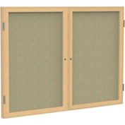 "Ghent® 2 Door Enclosed Fabric Bulletin Board, Beige Fabric/Oak Frame, 60""W x 48""H"