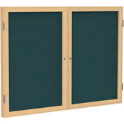 "Ghent® 2 Door Enclosed Fabric Bulletin Board, Blue Fabric/Oak Frame, 60""W x 48""H"