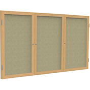 "Ghent® 3 Door Enclosed Fabric Bulletin Board, Beige Fabric/Oak Frame, 72""W x 36""H"