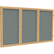 "Ghent® 3 Door Enclosed Fabric Bulletin Board, Gray Fabric/Oak Frame, 72""W x 36""H"