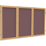 "Ghent® 3 Door Enclosed Fabric Bulletin Board, Merlot Fabric/Oak Frame, 72""W x 36""H"