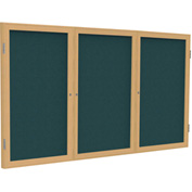 "Ghent® 3 Door Enclosed Fabric Bulletin Board, Blue Fabric/Oak Frame, 72""W x 36""H"