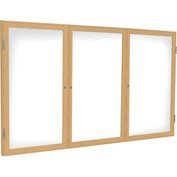 "Ghent® 3 Door Enclosed Porcelain Whiteboard, White w/Oak Frame, 72""W x 36""H"