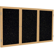 "Ghent® 3 Door Enclosed Recycled Rubber Bulletin Board, 72""W x36""H, Tan Speckled w/Oak Frame"