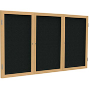 "Ghent® 3 Door Enclosed Fabric Bulletin Board, Black Fabric/Oak Frame, 72""W x 48""H"
