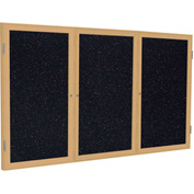 "Ghent® 3 Door Enclosed Recycled Rubber Bulletin Board, 72""W x48""H, Confetti w/Oak Frame"