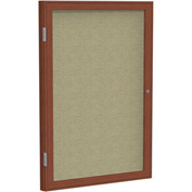 "Ghent® 1 Door Enclosed Fabric Bulletin Board, Beige Fabric/Cherry Frame, 18""W x 24""H"
