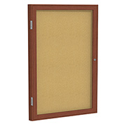 "Ghent® 1 Door Enclosed Bulletin Board, Cherry Frame, 18""W x 24""H"