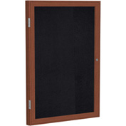 "Ghent® 1 Door Enclosed Recycled Rubber Bulletin Board, 24""W x36""H, Black w/Cherry Frame"