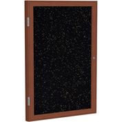 "Ghent® 1 Door Enclosed Recycled Rubber Bulletin Board, 24""W x36""H, Tan Speckled w/Cherry Frame"