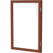 "Ghent® 1 Door Enclosed Porcelain Whiteboard, White w/Cherry Frame, 30""W x 36""H"