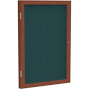 "Ghent® 1 Door Enclosed Fabric Bulletin Board, Blue Fabric/Cherry Frame, 36""W x 36""H"