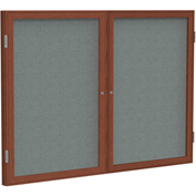 "Ghent® 2 Door Enclosed Fabric Bulletin Board, Gray Fabric/Cherry Frame, 48""W x 36""H"