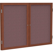 "Ghent® 2 Door Enclosed Fabric Bulletin Board, Merlot Fabric/Cherry Frame, 48""W x 36""H"