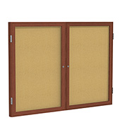 "Ghent® 2 Door Enclosed Bulletin Board, Cherry Frame, 60""W x 36""H"