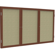 "Ghent® 3 Door Enclosed Fabric Bulletin Board, Beige Fabric/Cherry Frame, 96""W x 48""H"