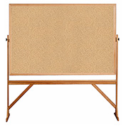 "Ghent® Mobile Reversible Double Sided Cork Board, Wood Frame, 78""W x 73-1/2""H"