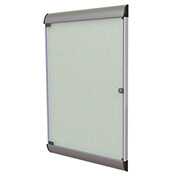 """Ghent® Silhouette Upscale Wall-Mounted Enclosed Bulletin Board, Silver, 27-3/4""""W x 42-1/8""""H"""