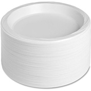 "Genuine Joe Plastic Plates, 10-1/4"" Diameter, Reusable/Disposable, 125/Pack, White"