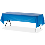 "Genuine Joe Rectangular Table Cover, Plastic, 54""W x 108""L, 6/Pack, Blue"