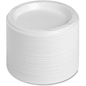 "Genuine Joe Plastic Plates, 6"" Diameter, Reusable/Disposable, 125/Pack, White"
