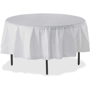 "Genuine Joe Table Cover, Plastic, 84""W x 84""L, Round, 6/Pack, White"