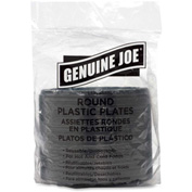 "Genuine Joe Plastic Hot/Cold Plates, 6"" Diameter, Reusable/Disposable, 125/Pack, Black"