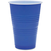 Genuine Joe Plastic Party Cups, 16 Oz., 50/Pack, Blue
