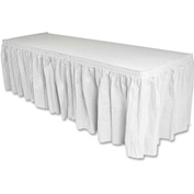 "Genuine Joe Table Skirt, 14'L x 29""H, Pleated, Linen/Polyester, White"