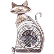 "Deco Breeze® Cat Figurine Fan, Metal, 17-1/2""L x 10-1/2""W x 17-1/2""H - DBF0358"