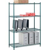 "Nexel® Green Epoxy Wire Shelving, 42""W X 18""D X 63""H"