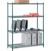 "Nexel® Green Epoxy Wire Shelving, 48""W X 18""D X 63""H"