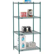 "Nexel® Green Epoxy Wire Shelving, 30""W X 24""D X 63""H"