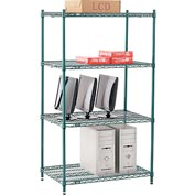"Nexel® Green Epoxy Wire Shelving, 36""W X 24""D X 63""H"